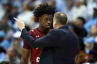 CHAPEL HILL, NC - FEBRUARY 1: CJ Felder #0 of Boston College listens to head coach Jim Christian during a game between Boston College and North Carolina at Dean E. Smith Center on February 1, 2020 in Chapel Hill, North Carolina.