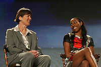 4 April 2008: Stanford Cardinal head coach Tara VanDerveer (left) and Candice Wiggins (right) during Stanford's 2008 NCAA Division I Women's Basketball Final Four salute dinner at the Tampa Convention Center in Tampa Bay, FL.