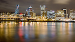 Downtown Portland Oregon City Lights and Skyline at night Black and white and color art