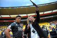 Adam Julian (right) waits to interview NZ's Isaac Te Tamaki on day two of the 2017 HSBC World Sevens Series Wellington at Westpac Stadium in Wellington, New Zealand on Sunday, 29 January 2017. Photo: Dave Lintott / lintottphoto.co.nz