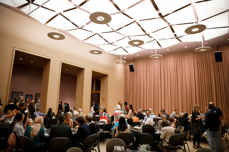 Contestants, host families, members of jury and guests mingle during the opening reception and dinner of the 11th USA International Harp Competition at Indiana University in Bloomington, Indiana on Wednesday, July 3, 2019. (Photo by James Brosher)