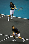 BANGKOK, THAILAND - OCTOBER 01:  Colin Fleming and Ken Skupski of Great Britain in action on their doubles match against Christopher Kas of Germany and Viktor Troicki of Serbia during the Day 7 of the PTT Thailand Open at Impact Arena on October 1, 2010 in Bangkok, Thailand. Photo by Victor Fraile / The Power of Sport Images
