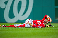 9 June 2013: Washington Nationals infielder Jeff Kobernus stretches out prior to a game against the Minnesota Twins at Nationals Park in Washington, DC. The Nationals shut out the Twins 7-0 in the first game of their day/night double-header. Mandatory Credit: Ed Wolfstein Photo *** RAW (NEF) Image File Available ***