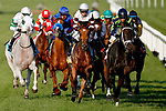 August 10, 2019 : The field passes the grandstand for the first time in the Pucker Up Stakes during Arlington Million Day at Arlington International Racecourse in Arlington Heights, Illinois. Cafe Americano, ridden by Irad Ortiz Jr., won the race. Jon Durr/Eclipse Sportswire/CSM