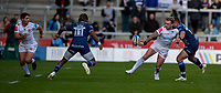 3rd October 2021; AJ Bell stadium, Eccles, Greater Manchester, England: Gallagher Premiership Rugby, Sale v Exeter ;  Stuart Hogg of Exeter Chiefs releases a side door pass under pressure from  Denny Solomona of Sale Sharks