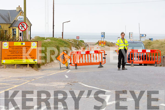 Kerry County Council employee Paddy Ashe manning the barrier on Inch Beach on Easter Saturday.