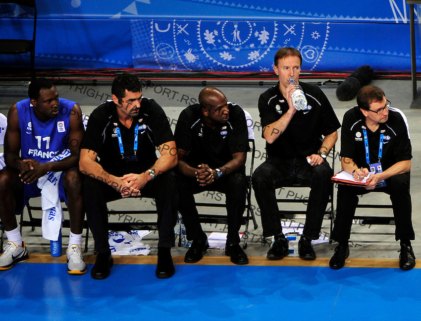 French national basketball team head coach Collet Vincent (2nd from right)  during final Eurobasket 2011 game between Spain and France in Kaunas, Lithuania, Sunday, September 18, 2011. (photo: Pedja Milosavljevic)