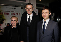 Montreal, Canada - November 6 - Cinemania President Maidy Teitelbaum greet Actor Lambert Wilson and French filmmaker Anne Fontaine on the red carpet premiere of Fontaine's movie GEMMA BOVERY that is opening the 20th  CINEMANIA Festival, November 6, 2014. <br /> <br /> Photo :  Agence Quebec Presse - Pierre Roussel