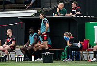 London Broncos head coach Danny Ward looks on from behind the dugout during the Betfred Championship match between London Broncos and Newcastle Thunder at The Rock, Rosslyn Park, London, England on 9 May 2021. Photo by Liam McAvoy.