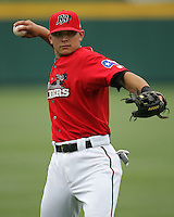 Frisco Rough Riders 2B German Duran during the 2007 AA Texas League Season. Photo by Andrew Woolley / Four Seam Images.
