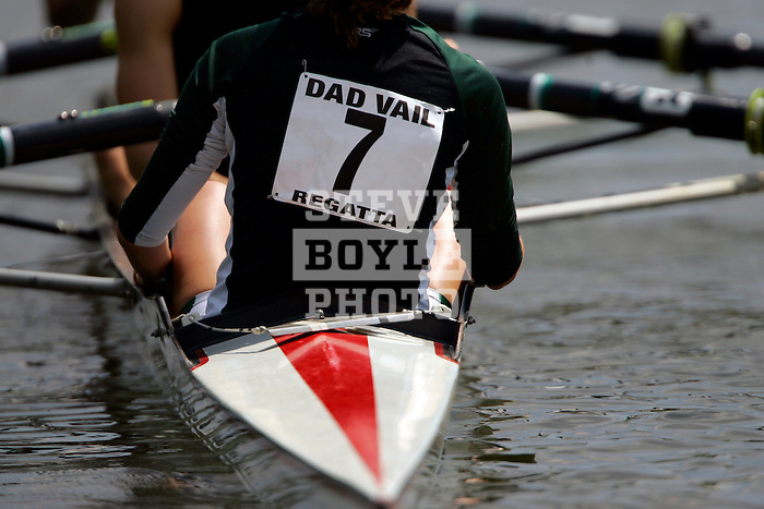 A crew from Binghamton rows down the river as they compete during the 68th Dad Vail Regatta on the Schuylkill River in Philadelphia, Pennsylvania on May 12, 2006.........