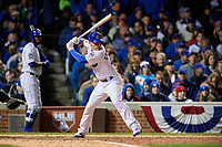 Chicago Cubs Willson Contreras (40) bats in the seventh inning during Game 5 of the Major League Baseball World Series against the Cleveland Indians on October 30, 2016 at Wrigley Field in Chicago, Illinois.  (Mike Janes/Four Seam Images)