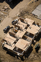 Aerial view house construction, Bedford, MA