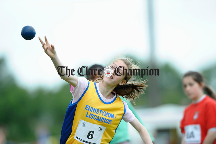 Emer Hillary throwing the shot putt at the Clare Community Games Athletics finals in Rosslevan. Photograph by John Kelly.