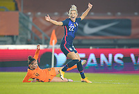 BREDA, NETHERLANDS - NOVEMBER 27: Kristie Mewis #22 of the United States scores a goal and celebrates during a game between Netherlands and USWNT at Rat Verlegh Stadion on November 27, 2020 in Breda, Netherlands.