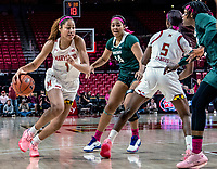 COLLEGE PARK, MD - FEBRUARY 03: Shakira Austin #1 of Maryland goes past Taiyier Parks #14 of Michigan State during a game between Michigan State and Maryland at Xfinity Center on February 03, 2020 in College Park, Maryland.