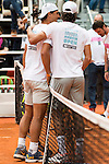 Rafa Nadal and Feliciano Lopez during the Charity Day of the Mutua Madrid Open at Caja Magica in Madrid. April 29, 2016. (ALTERPHOTOS/Borja B.Hojas)
