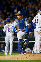 Chicago Cubs catcher Willson Contreras (40) in the seventh inning during Game 5 of the Major League Baseball World Series against the Cleveland Indians on October 30, 2016 at Wrigley Field in Chicago, Illinois.  (Mike Janes/Four Seam Images)