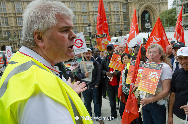 Steve O'Rourke, Unite convenor for London Metroline buses.  London bus drivers  protest outside Parliament and call for strike action for collective bargaining rights and equal pay.