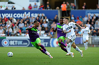 Niclas Eliasson of Bristol City vies for possession with Barrie McKay of Swansea City during the Sky Bet Championship match between Swansea City and Bristol City at the Liberty Stadium, Swansea, Wales, UK. Saturday 25 August 2018