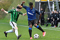 Joao Moreira of the Miramar Rangers competes for the ball with Oliver Arrowsmith of the Wainuiomata AFC during the Central League Football - Miramar Rangers AFC v Wainuiomata AFC at David Farrington Park, Wellington, New Zealand on Saturday 17 April 2021.<br /> Copyright photo: Masanori Udagawa /  www.photosport.nz