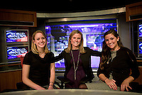 Lafayette College Externship: Lafayette College Alum Meghan Baker ( center ) and students  Sarah Reddan (left) and Chelsea McCue ( right) on the set of ABC's World News with Charles Gibson. Baker works with ABC New 20/20 Show .4371