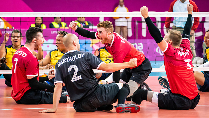 Austin Hinchey, Bryce Foster, Mikael Bartholdy, and Doug Learoyd, Lima 2019 - Sitting Volleyball // Volleyball assis.<br /> Canada competes for the bronze medal in men's Sitting Volleyball // Canada participe pour la médaille de bronze en volleyball assis masculin. 28/08/2019.