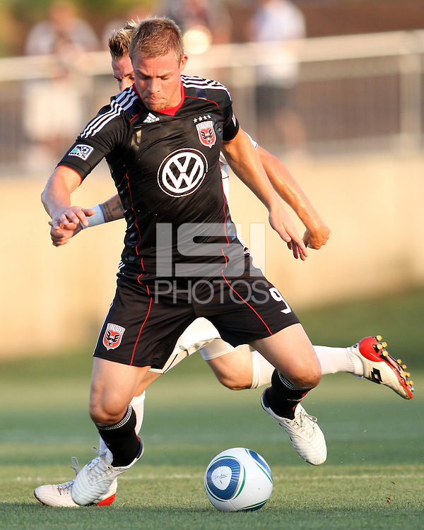 Danny Allsopp #9 of D.C. United during a US Open Cup match against the Harrisburg City Islanders at the Maryland Soccerplex on July 21 2010, in Boyds, Maryland. United won 2-0.