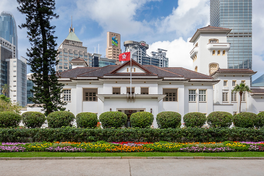 """Government House from the main entrance on Upper Albert Road.  (See detailed coverage in """"Individual Monuments"""".)"""