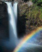 Rainbow Falls with rainbow. Hawaii Island. The Big Island