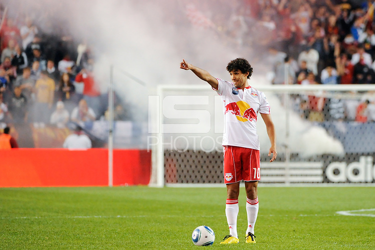 Mehdi Ballouchy (10) of the New York Red Bulls readies to take a free kick. The New York Red Bulls defeated the Kansas City Wizards 1-0 during a Major League Soccer (MLS) match at Red Bull Arena in Harrison, NJ, on October 02, 2010.