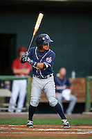 New Hampshire Fisher Cats second baseman Jorge Flores (6) at bat during a game against the Harrisburg Senators on July 21, 2015 at Metro Bank Park in Harrisburg, Pennsylvania.  New Hampshire defeated Harrisburg 7-1.  (Mike Janes/Four Seam Images)