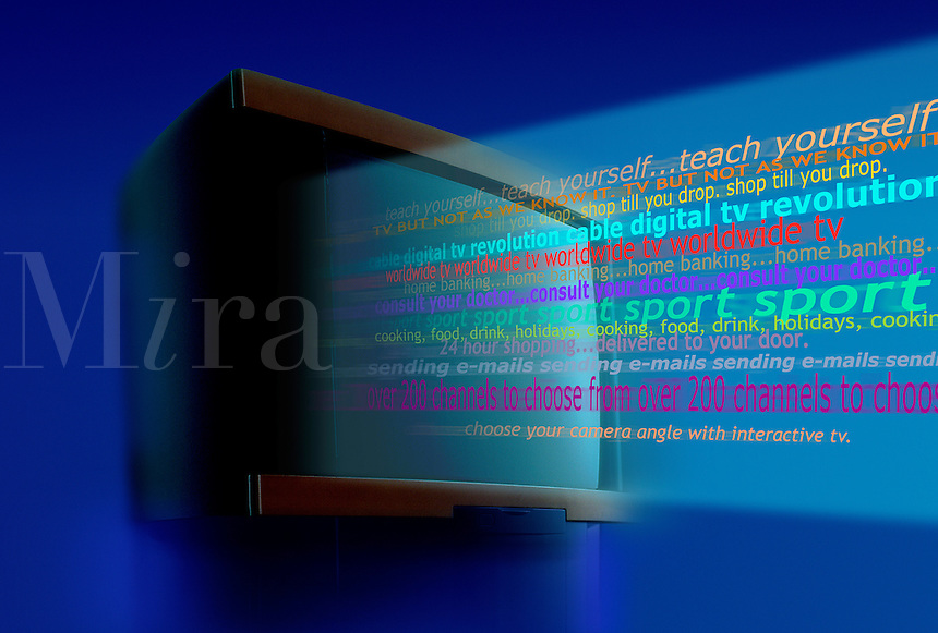 Words streaming out of the screen showing the various usages of a television.