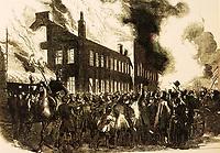 Montréal 1849. Incendie du Parlement. Artiste inconnu, Illustrated London News, Arch. Nationnales du Canada, Ottawa, C-2726.