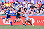 Siosifa Lisala of Japan (R) runs with the ball during the HSBC World Rugby Sevens Series Qualifier Final match between Germany and Japan as part of the HSBC Hong Kong Sevens 2018 on 08 April 2018 in Hong Kong, Hong Kong. Photo by Marcio Rodrigo Machado / Power Sport Images