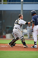 GCL Pirates catcher Dylan Shockley (36) tags Zach Huffins (9) during a Gulf Coast League game against the GCL Rays on August 7, 2019 at Charlotte Sports Park in Port Charlotte, Florida.  GCL Rays defeated the GCL Pirates 5-3 in the second game of a doubleheader.  (Mike Janes/Four Seam Images)