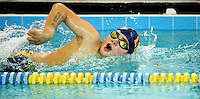 A 12-year-old swimmer competes at a swim meet competition in North Carolina. Photo is model released for commercial use.