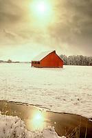 F00026.tif   Barn in snow. Near Monroe, Oregon