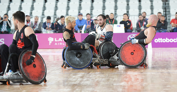 Trevor Hirschfield, Zak Madell, Lima 2019 - Wheelchair Rugby // Rugby en fauteuil roulant.<br /> Canada takes on the USA in wheelchair rugby // Le Canada affronte les États-Unis au rugby en fauteuil roulant. 27/08/2019.