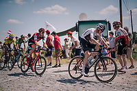 Chris Froome (GBR/SKY) at the end of pavé sector #9 followed closely by Team BMC of yellow jersey Greg Van Avermaet (BEL/BMC)<br /> <br /> Stage 9: Arras Citadelle > Roubaix (154km)<br /> <br /> 105th Tour de France 2018<br /> ©kramon
