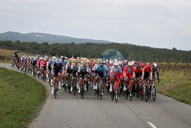 The peloton during Stage 5 of Paris-Nice 2021, running 200km from Vienne to Bollene, France. 11th March 2021.<br /> Picture: ASO/Fabien Boukla | Cyclefile<br /> <br /> All photos usage must carry mandatory copyright credit (© Cyclefile | ASO/Fabien Boukla)