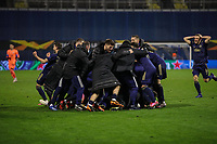 18th March 2021; Zagreb, Croatia;  Players of Dinamo Zagreb celebrate after winning the UEFA Europa League Round of 16 Second Leg match between Dinamo Zagreb and Tottenham Hotspur at Maksimir stadium by a score of 3-0