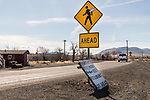 Crossing ahead sign, angel wings, Wadsworth, Nevada.