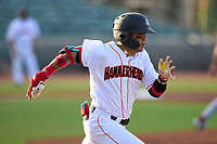 Jupiter Hammerheads Victor Mesa Jr. (10) runs to first base during a game against the Palm Beach Cardinals on May 11, 2021 at Roger Dean Chevrolet Stadium in Jupiter, Florida.  (Mike Janes/Four Seam Images)
