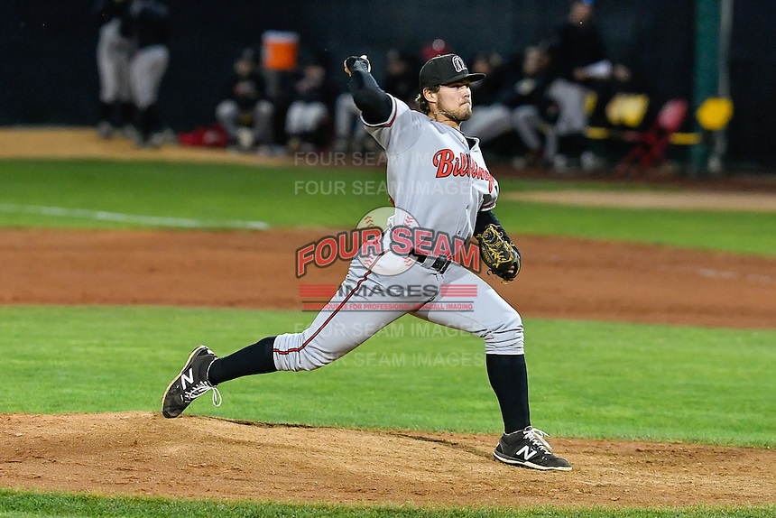 Patrick Riehl (50) of the Billings Mustangs delivers a pitch to the plate against the Orem Owlz in Game 2 of the Pioneer League Championship at Home of the Owlz on September 16, 2016 in Orem, Utah. Orem defeated Billings 3-2 and are the 2016 Pioneer League Champions. (Stephen Smith/Four Seam Images)