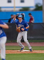 Jesuit Tigers first baseman Tyler Corish (14) during a game against the IMG Academy Ascenders on April 21, 2021 at IMG Academy in Bradenton, Florida.  (Mike Janes/Four Seam Images)