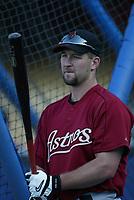 Jason Lane of the Houston Astros during a 2003 season MLB game at Dodger Stadium in Los Angeles, California. (Larry Goren/Four Seam Images)