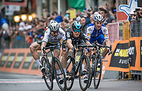 finish sprint at the Via Roma between Peter Sagan (SVK/Bora-Hansgrohe), Michal Kwiatkowski (POL/SKY) & Julian Alaphilipe (FRA/QuickStep Floors) with Kwiatkowski winning by the smallest margin<br /> <br /> 108th Milano - Sanremo 2017