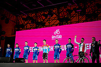 Team Deceuninck-Quickstep at the official team presentation of the 102nd Giro d'Italia 2019 at the Grande Partenza in Bologna<br /> <br /> ©kramon