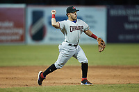 Hickory Crawdads third baseman Frainyer Chavez (5) on defense against the Greensboro Grasshoppers at First National Bank Field on May 6, 2021 in Greensboro, North Carolina. (Brian Westerholt/Four Seam Images)